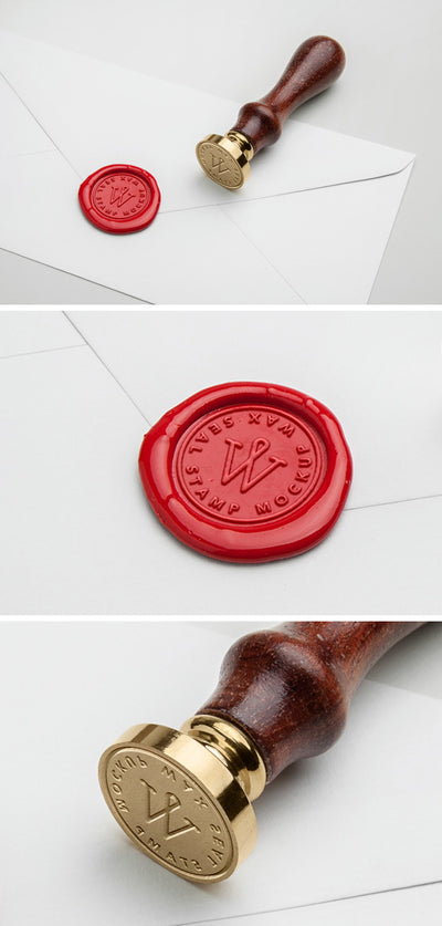 Red Wax Seal Stamp PSD MockUp