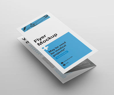 3 Angles of Tri Fold Flyer Mockup