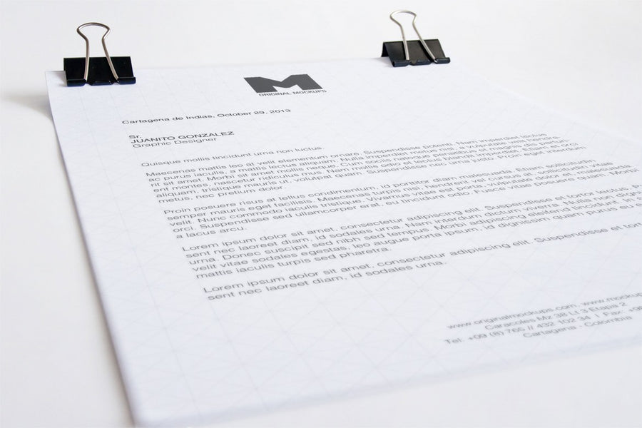 white and clean a4 letterhead close up mockup