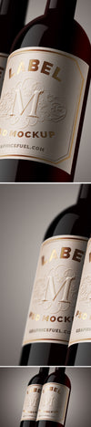Wine Bottle Close-up Label Mockup PSD