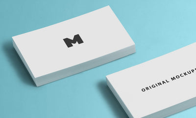 Business Card Mockups with Blue Background