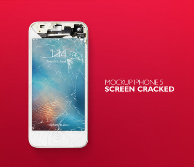 Funny Cracked iPhone Mockup PSD