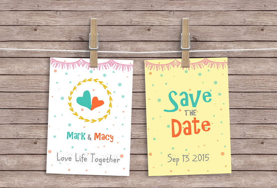 d53a5e3b0e0c Hanging Invitation or Greeting Cards Mockup PSD