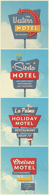 4 Vintage Retro Motel Sign Mockups