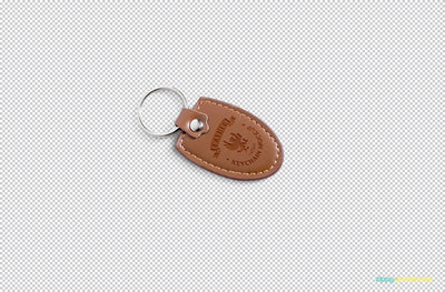 Leather Keychain Mockup with Changeable Marble Base