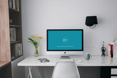 Clean iMac Mockup On A White Table