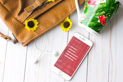 White iPhone 8 Mockup With Sunflowers