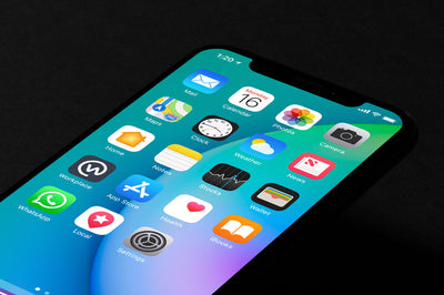 Isometric Black iPhone X Top View Mockup
