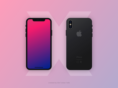 Flat iPhone X Mockup White and Black Versions