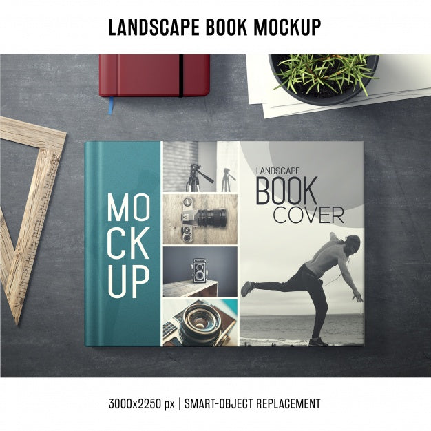 Landscape Photo Album Book Cover Mockup Mockup Hunt