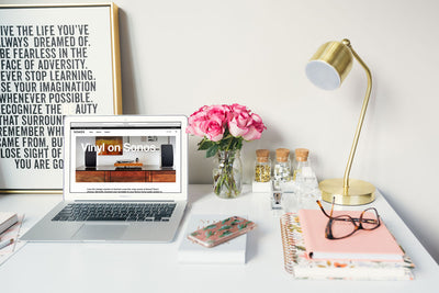Macbook Air Mockup in Feminine Home Office