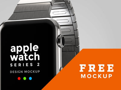 Silver Metallic Apple Watch Design Mockup