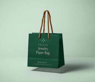 Paper Bag Mockup Floating in the Air