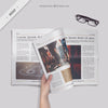 Reading an Open Newspaper or Magazine Mockup