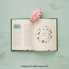 Spring Vibed Mockup with a Book and pink Flower