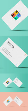 Standing White Business Card Mockup