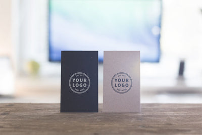 Two Versions of Vertical Business Card Mockups