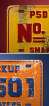 Vintage Number or Register Plate Mockup PSD