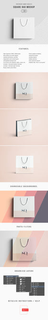 Square White Shopping Bag Mockup