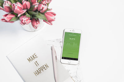 White iPhone 8 Mockup and Pink Tulips