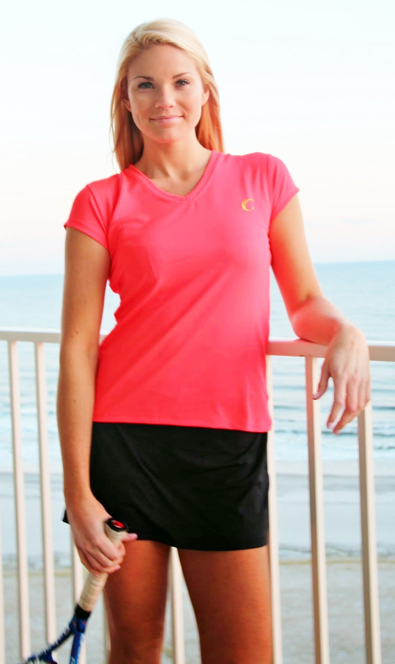 Women's Athletic Workout Cap Sleeve T-Shirt in Fuchsia Coral