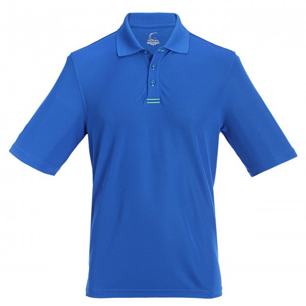 Men's Athletic Polo with Neon Trim in Blue