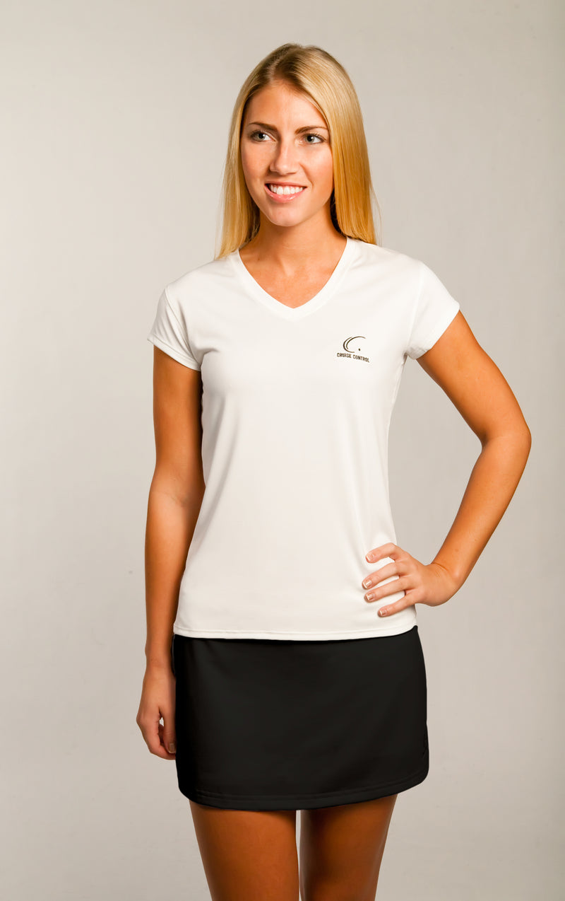 Women's Athletic Workout Cap Sleeve T-Shirt in White