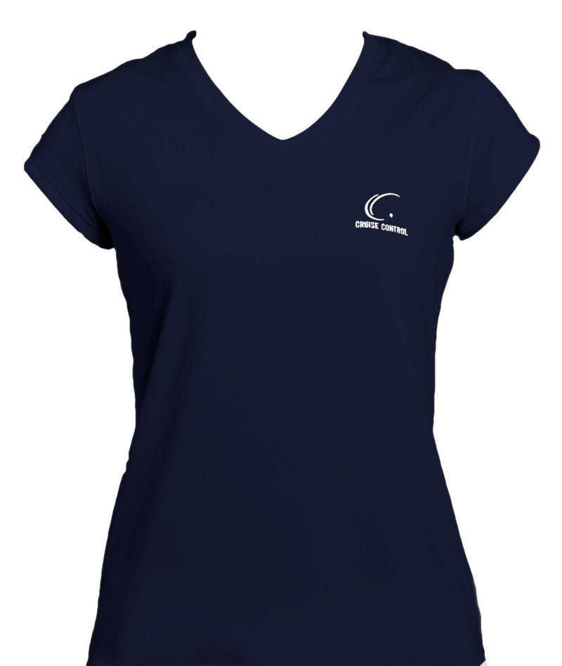 Women's Athletic Workout Cap Sleeve T-Shirt in Navy