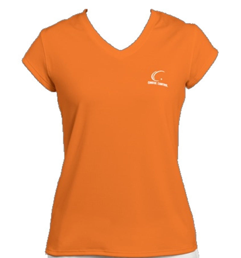 Women's Athletic Workout Cap Sleeve T-Shirt in Orange