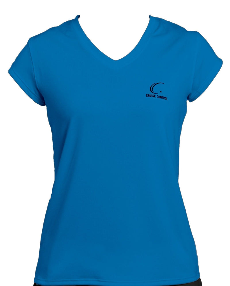 Women's Athletic Workout Cap Sleeve T-Shirt in Blue