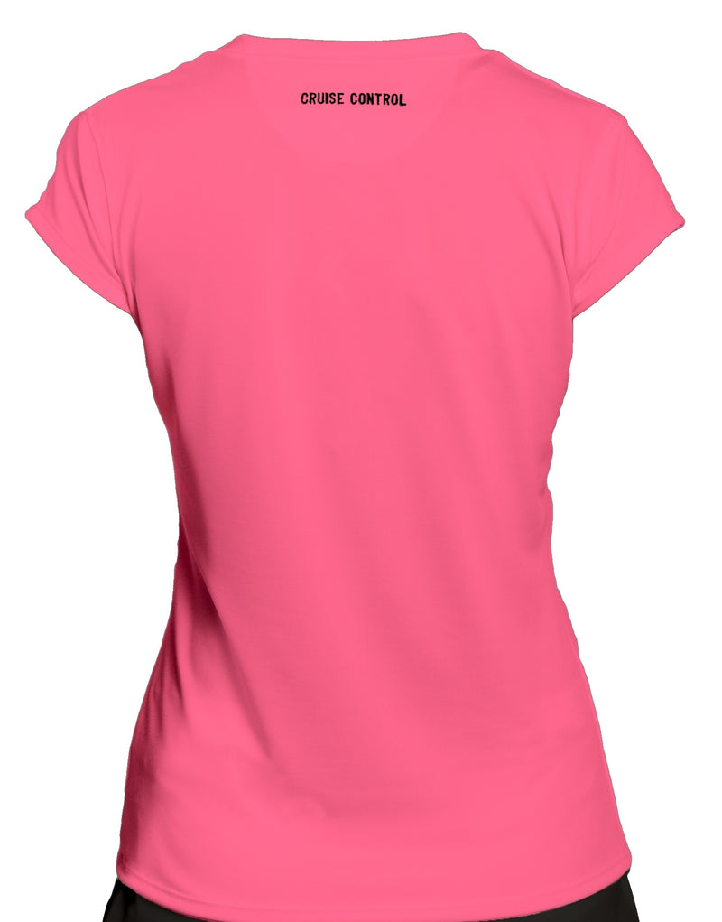 Women's Athletic Workout Cap Sleeve T-Shirt in Pink