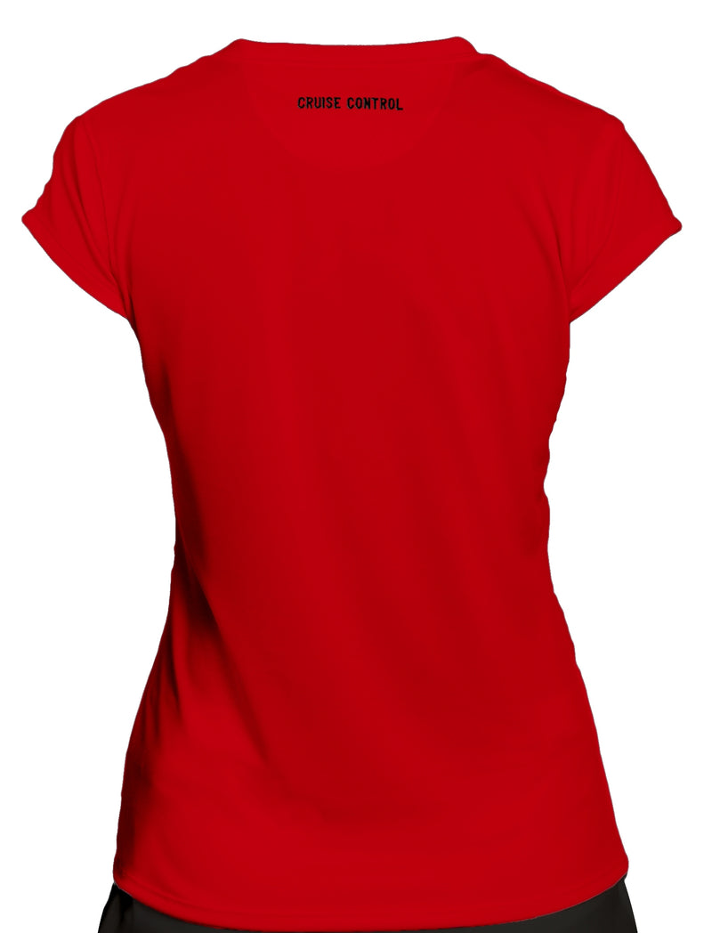 Women's Athletic Workout Cap Sleeve T-Shirt in Red