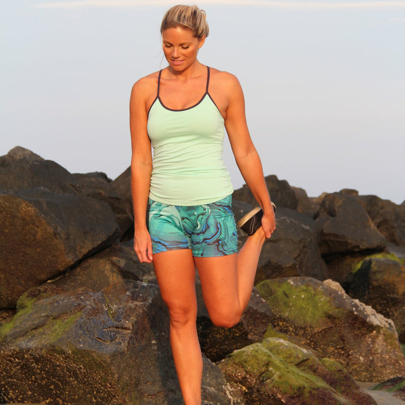 Women's Compression Athletic Short  in Green and Blue Tropical Twist