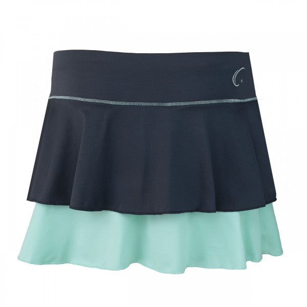 Women's Double Layered Tennis Skort in Gray and Honeydew