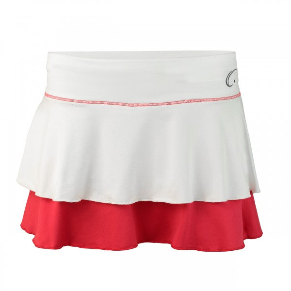 Women's Double Layered Tennis Skort in White and Red