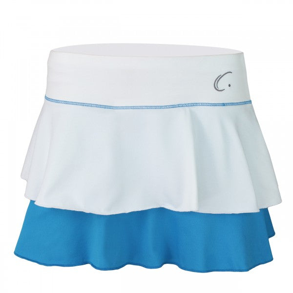 Women's Double Layered Tennis Skort in White and Blue