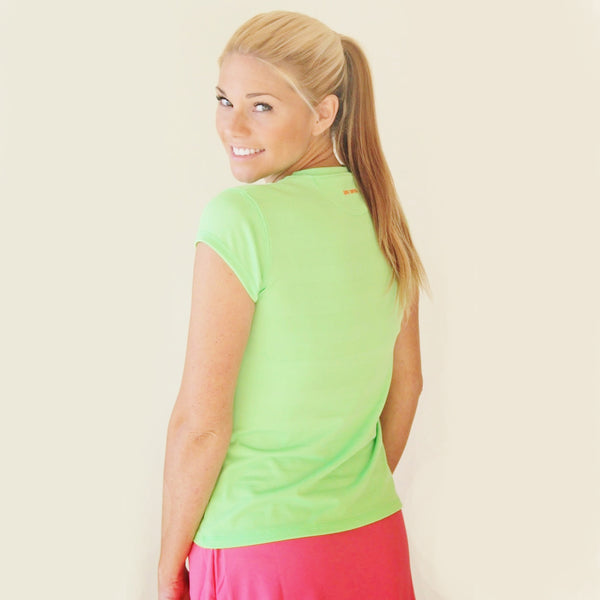 Women's Athletic Workout Cap Sleeve T-Shirt in Lime Green