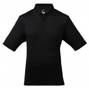 Men's Athletic Collared Jersey Pique Polo in Black