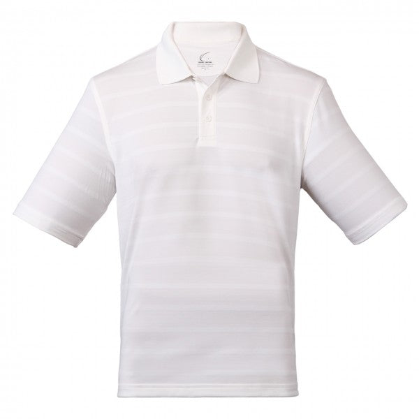 Men's Athletic Collared Jersey Pique Polo in White