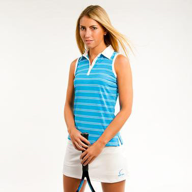 Resort Striped Sleeveless Polo