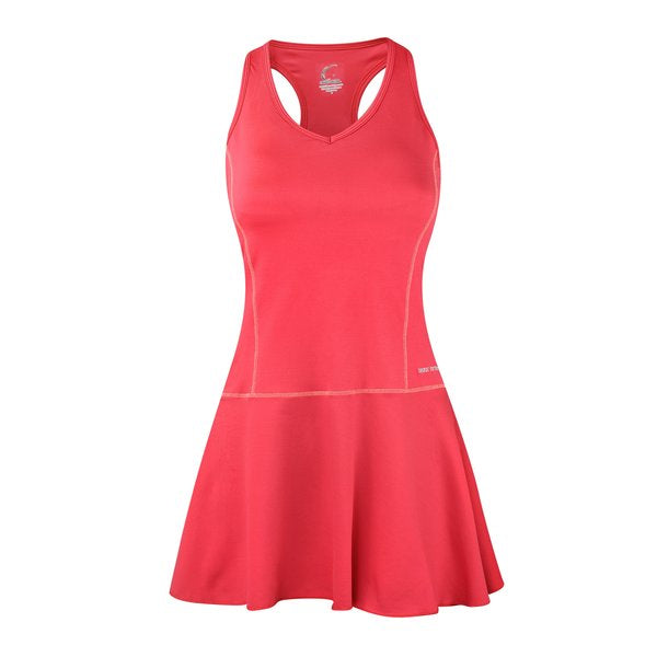 Women's Tennis Fit & Flair Dress in Coral Pink