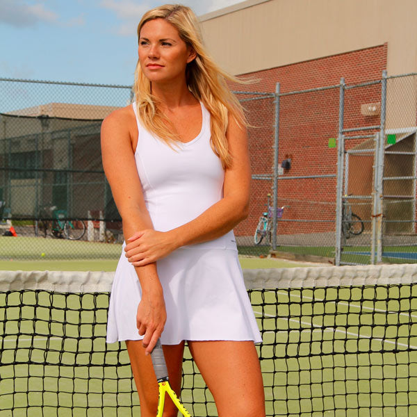 Women's Tennis Fit & Flair Dress in White