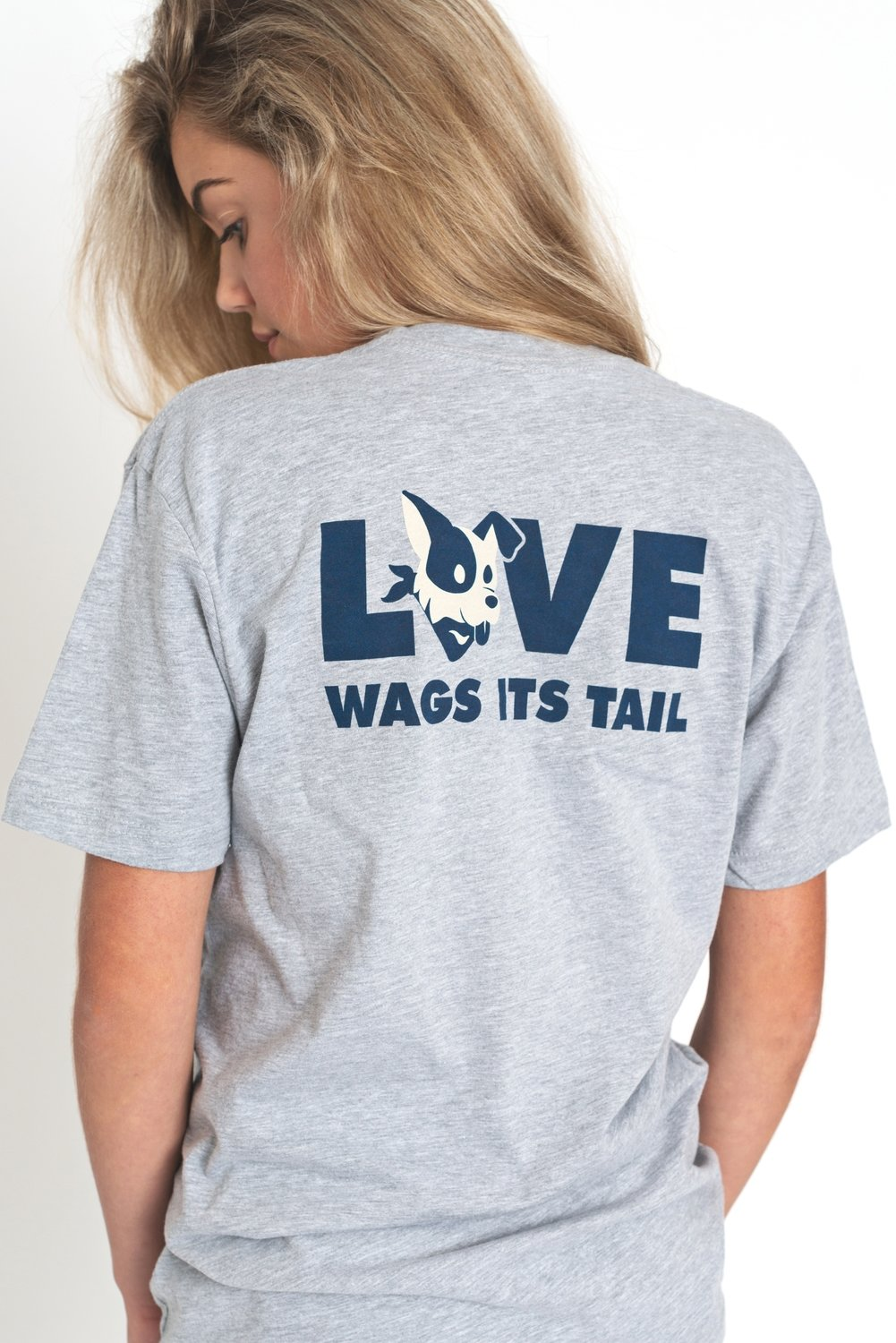 LOVE Wags its Tail Crew - Grey - The Stray Stitch