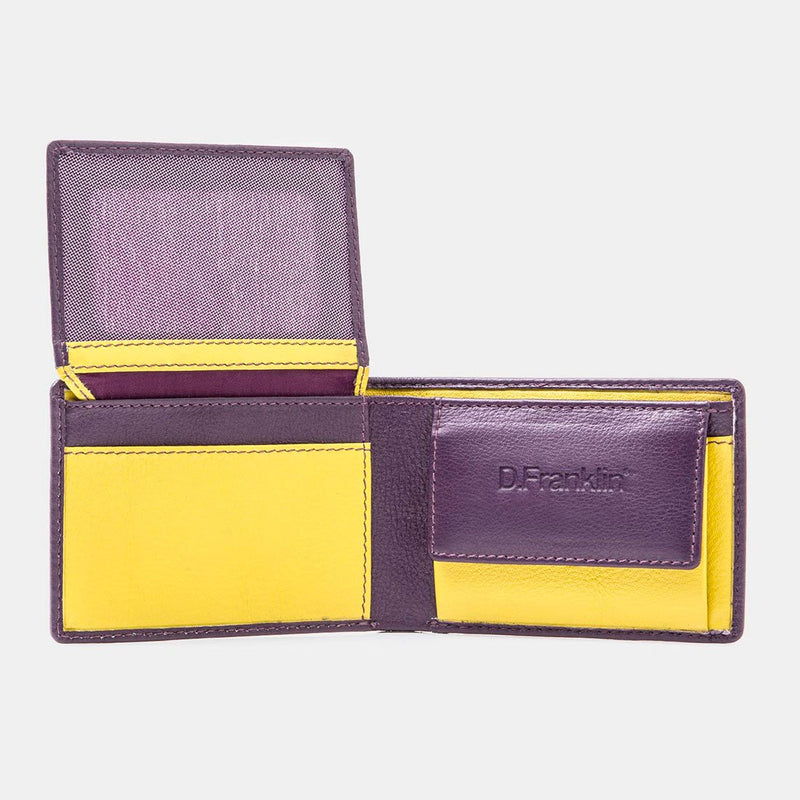 Purple / Yellow Leather Wallet