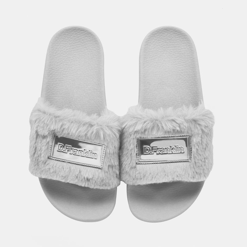 Label Fur Slides Grey
