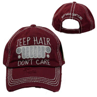 Burgundy Jeep Hair Don't Care Baseball Hat Distressed - BJS Country Charm