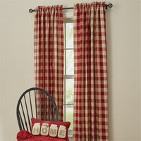 Primitive Wicklow Garnet Curtain Panels - BJS Country Charm