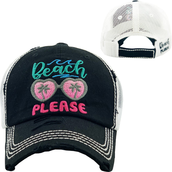 Black Beach Please Truckers Baseball Hat Distressed - BJS Country Charm