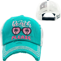 Turquoise Beach Please Truckers Baseball Hat Distressed - BJS Country Charm