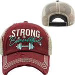 Burgundy Strong Is Beautiful Truckers Hat - BJS Country Charm